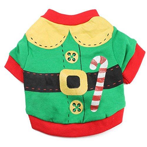 Y-pet Pullover Hund Hundebekleidung Baumwolle grün rot Rand gedruckt Krücken Haustier T-Shirt Teddy Kleidung Weihnachten Modelle. Kleidung für Hunde (Größe : S) Rand Pullover