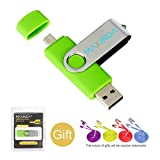 8GB/16GB/32GB/64GB Flash Drive de USB OTG (On the Go) Doble Transforma Memoria USB Stick 2.0 a Micro USB Para Smartphone Android o Tableta + 1M 2.0 USB Cable (16GB, verde )