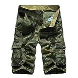 JYJM Männer Casual Camouflage Reine Farbe Im Freien Tasche Strand Arbeit Hosen Cargo Shorts Pant