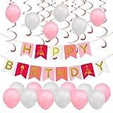 PBPBOX Geburtstagsdeko Mädchen Kinder Geburtstag Party Deko, 1 Geburtstag Girlande, 30 Luftballons mit 1 ballonpumpe und 20M pink Band, 12 pink Spirale Girlanden
