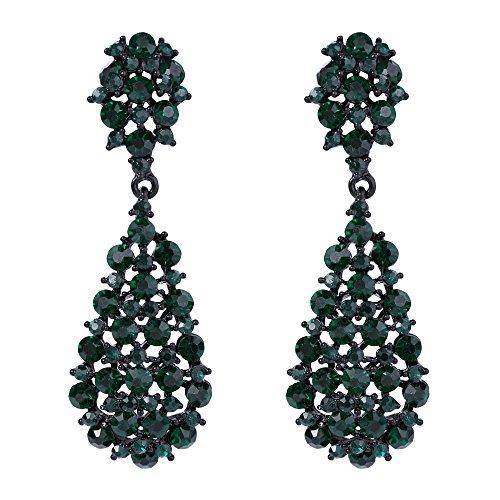 ustrian Crystal Art Deco Vintage Style Dangle Pierced Earrings Green Black-Tone ()