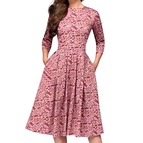 Doublehero Frauen Elegante Kleider Langarm A-Linie Audrey Hepburn Kleid mit Blumendruck Partykleider Cocktailkleid Printkleid Knielang Kleid mit Taschen Belted Jersey-shorts