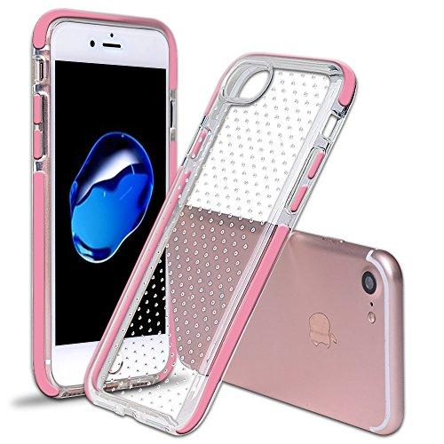iPhone 7 Ultra Slim Case, SHANSHUI Weiches TPU Hülle Silikon Transparente Schutzhülle Rückschale Backcover Rahmen Bumper (i7,Schawarz) Pink