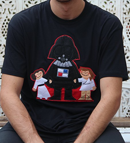 Camiseta hombre Star Wars Darth Vader con Luke Skywalker y Princesa Leia