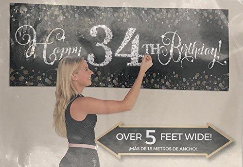 Carpeta Riesiger Deko-Banner * Happy Birthday * Plus 24 Buchstaben und Zahlen Zum Aufkleben // Zahl 1 bis 100 möglich // Geburtstag Party Jubiläum