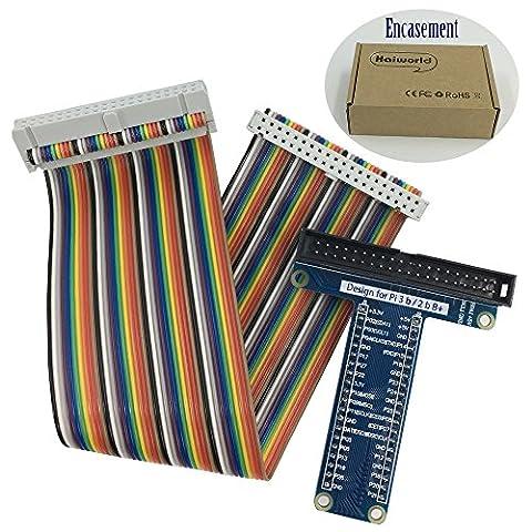 Haiworld GPIO RPi Carte d'Breakout Extension + Ruban Compatible câble,Pour Raspberry Pi 3 2 Modèle B & B+ Assemblé T Type GPIO Adaptateur Plus Cobbler 40 pin 20cm Ruban plat Cable