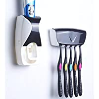 KBF Automatic Toothpaste Dispenser and 5 Toothbrush Holder for Home Bathroom Acessories Set Automatic Toothpaste Dispenser and Tooth Brush Holder Set Hands Free Toothpaste Dispenser Automatic Toothpaste Squeezer and Toilet Brush/Toothbrush Holder Set Automatic Toothpaste Dispenser and Detachable 5 Hole Toothbrush Holder Dust-Proof Wall Mounted with Cover Bathroom Storage Stand Toothpaste Dispenser Squeezer Kit Tooth Brush Holder Set Automatic Auto Toothpaste Dispenser (Brushes Not Included)