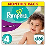 Pampers Premium Protection Active Fit Nappies, Monthly Saving Pack – Size 4, 168 Nappies