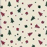 Tela Navidad - árboles de navidad con corazones y estrellas - rojo de Navidad y verde de Navidad sobre un fondo blanco crema - 100% algodón suave | ancho: 145 cm (1 metro)