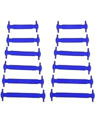Nabati Lot de 12pcs Silicone Lazy Lacets No Tie Lacets de chaussures Bleu
