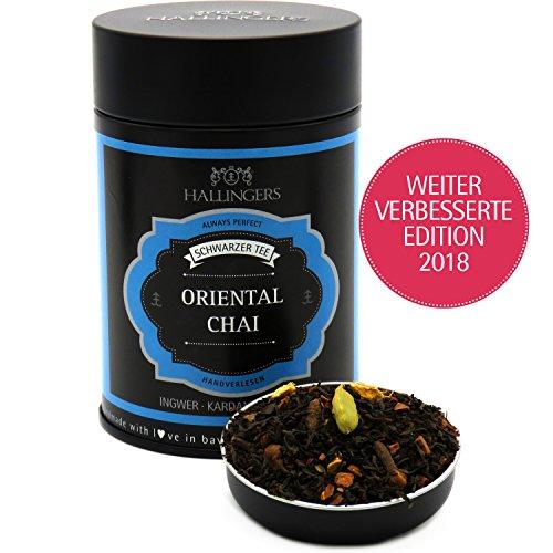 Hallingers Loser Schwarz-Tee mit Ingwer, Kardamom & Nelke (140g) – Oriental Chai (Premiumdose) – zu Weihnachten ideal als Geschenk – PARENT