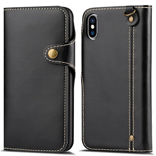 Casefirst iPhone X iPhone XS PU Case Flip, Cover Suit Premium Vertical Leather Pouch Sleeve Carrying Case Case Slim with Card Slot for iPhone X iPhone XS PU (Black) Vertical Slim Case