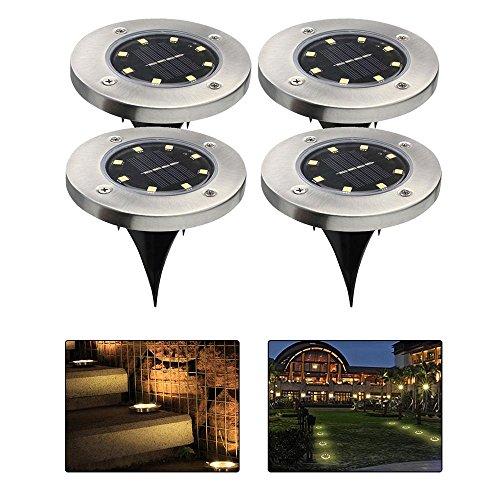 4 X 8 LED Solar Leuchte,außen Garten Solarleuchte Wasserdichte Solar Bodenstrahler Dunkel Sensorik-Landschaftslichter Path Lights Garten Landschaft Beleuchtung Lampe für Rasen Hof Auffahrt (Warmweiß Licht)