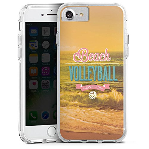 Apple iPhone 7 Bumper Hülle Bumper Case Glitzer Hülle Volleyball Beach Strand Bumper Case transparent