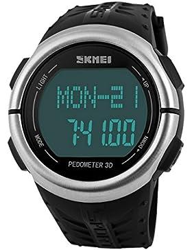 Tangda SKMEI Damen Herren Unisex Armbanduhr LCD Multifunktions Schrittzähler 3D Sport Armband Uhr Pulsuhr Child...