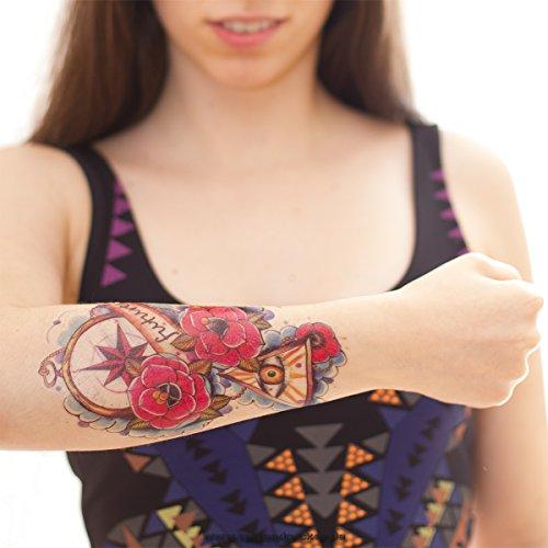 2 Tattoos: future Abstrakt & Bunt Wie ein echtes! - Temporäre Tätowierung / temporary tattoo Rosen Tattoo (2)