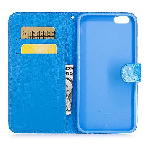 BtDuck Specializzato progettato per Signora Donne Carino Custodia Pelle per iPhone 6 Plus/6S Plus 5.5,BtDuck Ultra Sottile Creativo PU Pelle Borsa e Portafoglio Tasca Libro Stand Case Cover Morbido Si 6 Plus/6S Plus 5.5-Blu Foresta