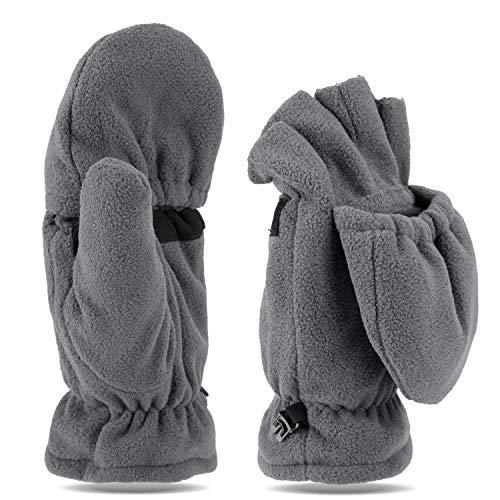 Tarjane Fleece Winterhandschuhe   Fäustlinge   Damen und Herren Fausthandschuhe   Fingerhandschuhe (S/M, Grau)