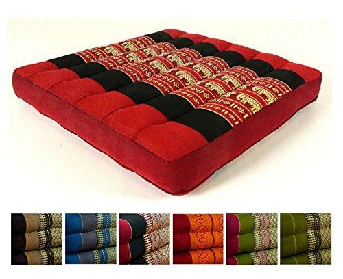 Kapok Sitzkissen 35x35x6,5Cm Der Marke Livasia, Optimal Als Stuhlauflage Oder Meditationskissen, Bodenkissen, Stuhlkissen (Rot / Elefanten)