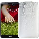 Suncase Ledertasche für das LG G2 Smartphone vollnarbig weiß