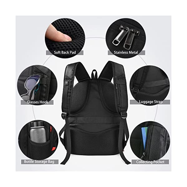 51l5mjp67kL. SS600  - Mochila Portátil Hombre 17.3 Pulgadas Puerto USB Impermeable Trabajo Ordenador Viaje Negocio Multifuncional Daypacks Negro