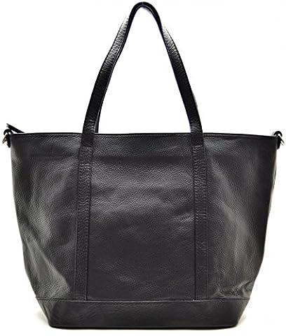 OH MY BAG Sac à Main cabas femme en cuir italien porté main, épaule et bandoulière Modèle Irupu noir Soldes