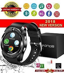 Bluetooth Smart Watch, Wasserdichte Handy Smart Uhr Touchscreen Telefon Watch Sport Smartwatch Uhr Intelligente Armbanduhr Für Ios Iphone Andriod Samsung Huawei Herren Damen (V8-black2)