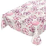 ANRO Wachstuchtischdecke Wachstuch Wachstischdecke Tischdecke abwaschbar Purpur Rosa Blumen Mohnblumen 200 x 140cm