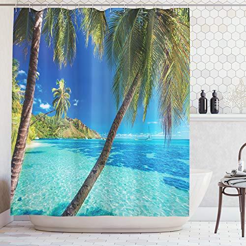 ABAKUHAUS Duschvorhang, Bild Einer Tropischen Insel Palmen und Dem Klaren Seestrand Ferien Thematisiertes Foto Druck, Blickdicht aus Stoff mit 12 Ringen Waschbar Langhaltig Hochwertig, 175 X 200 cm