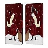 Head Case Designs Fiocchi di Neve Babbo Natale Magro Cover a Portafoglio in Pelle per Nokia 7 Plus