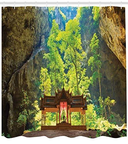 Abakuhaus natürliche Höhle Duschvorhang, Latentes Pavillion Cliff, Waserdichter Stoff mit 12 Haken...