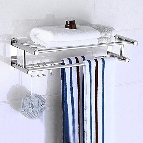 OUMK® Towel Rails/Towel rack Stainless Steel Double Layer Anti-Corrosion Towel Rack Bathroom Hardware Pendant Wall Hanging Multifunction Storage Rack Silver 30/40/50/60/80Cm Bathroom Shelves with hook,