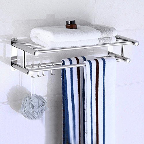 YUZHIWUX Acero Inoxidable Doble anticorrosivo toallero Colgante de Metal Baño Colgar de la Pared multifunción Rack de Almacenamiento Plata 30/40/50/60/80cm, 60cm