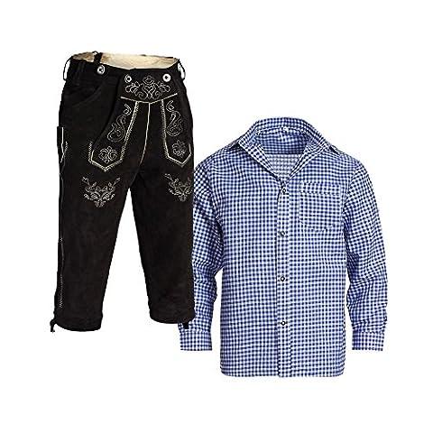 Herren Set Lederhose Schwarz und Trachtenhemd Blau Weiß Kariert Gr. Hose 48 Hemd S