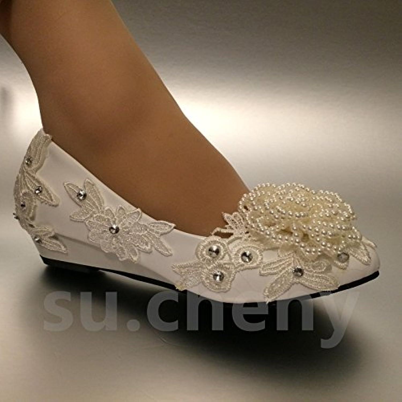 JINGXINSTORE Pearl bianca Lace cristallo matrimonio scarpe da sposa sposa sposa 5 – 8,5, bianco, 6 US | Per Essere Altamente Lodato E Apprezzato Dal Pubblico Dei Consumatori  b1ddf8