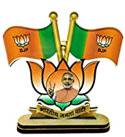 Narendra ModiJi Portrait with BJP official Flag for Car Dashboard & Office Table in Premium Quality