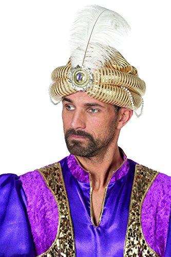 Jannes 9884 Turban Orient Deluxe mit Feder und Edelstein Arabisch Scheich Pirnz Einheitsgröße Gold (Indische Kostüm Mit Kopfschmuck)