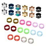 JSDDE Schmuck,Set 14 Paare 3-20mm Chirurgenstahl+Silikon Flesh Tunnel Ohr Plug Double Flared Ohrpiercing Klassisch Punk(16mm)
