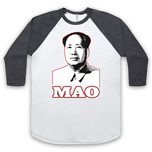 Chairman Mao Retro 3/4 Hulse Retro Baseball T-Shirt Weis & Dunkelgrau
