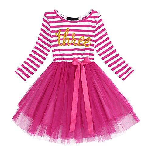Neugeborene Säuglings Kleinkind Baby Mädchen Ist es Mein 1. / 2. / 3. Geburtstags Gestreiften Tüll Tütü Prinzessin Kleid mit Bowknot Partykleid Fotoshooting Outfits Kostüm - Meine Mädchen Kostüm