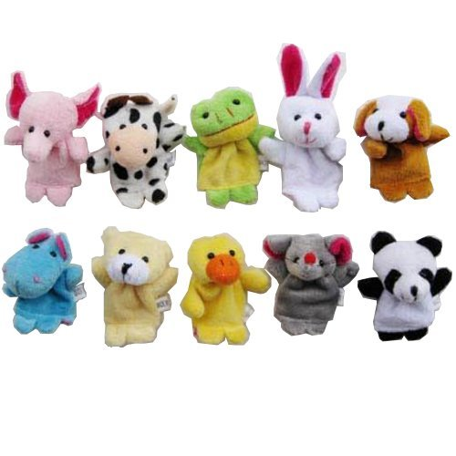 10 Pcs Finger Set Animal Puppet Set Toy children's Learn Play Story 10z