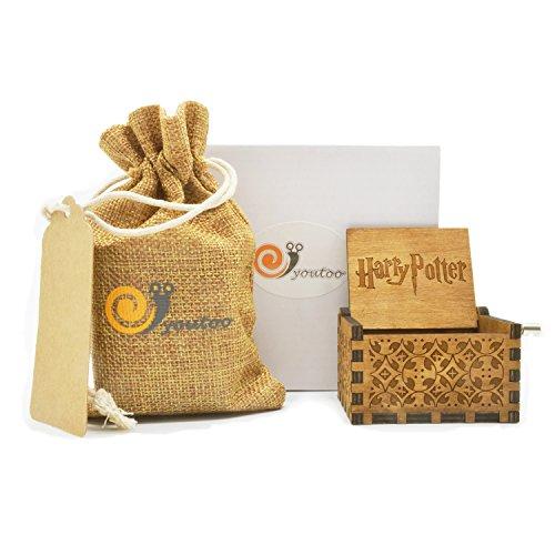 youtoo Retro Madera Parte reloj mano clásico Manivela Caja de música para regalos Talla:Harry Potter Melodie