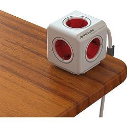 Allocacoc PowerCube - Enchufe de red con 5 tomas y alargo, color blanco y rojo