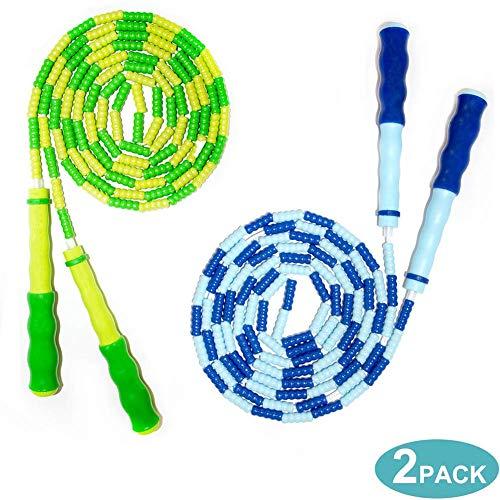 Homello Springseil Weich Perlen - Verstellbare für Kinder - Verwicklungsfrei zum Fitbleiben, Training, Üben - 2,3m - (Blau und Grün, 2 Stück)