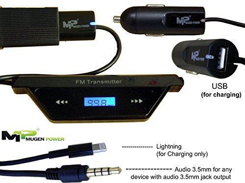 MugenPower Auto-FM Radio-Sender-Set-Set - mit Blitzadapter für iPhone / iPad / iPod und 3,5 mm Audio-Stecker + USB-Ladeanschluss für LG V20, Moto Z, Samsung S7, BlackBerry etc.,