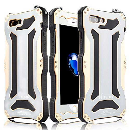 iPhone 7 Plus Hülle, Feitenn Armor Aluminium Metall Gehäuse Stoßfest Handyhülle Military Heavy Duty Cover Hard Fall Back Cover Case Bumper Schutzhülle für Apple iPhone 7 Plus 7+ 5.5 Zoll - Gold Gold