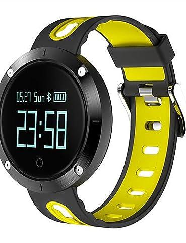 Lpan Femme & # 039; S Men & # 039; S Nouvelle arrivée Smart Bracelet moniteur de fréquence cardiaque moniteur de pression sanguine SmartBand Bracelet podomètre activité Fitness montre, noir/jaune