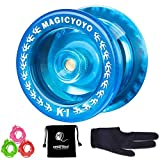 Responsive YoYo MAGIC YOYO K1-Plus with Yoyo Bag/Sack + 3 Strings and Yo-Yo Glove Gift(Crystal blue)