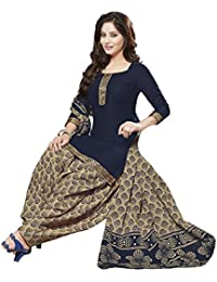 Baalar Women's Cotton Dress Material (baalar406_Free Size_blue)