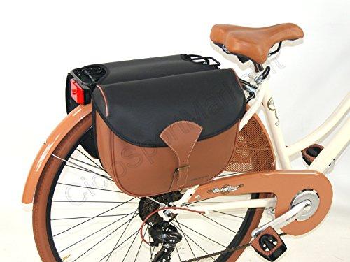 """Tasche DOPPEL hinten SIMIL LEDER - Öko-Leder """"DIEFFE"""" ideal fahrrad Vintage - Gestängebremse - City Bike - Graziella Modell 6"""